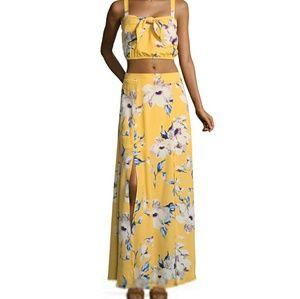 Yellow floral 2 piece maxi dress